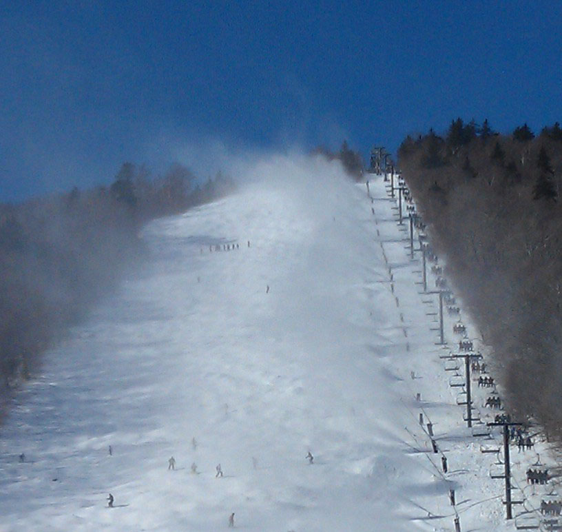The final descent of the black diamond slope I skied.
